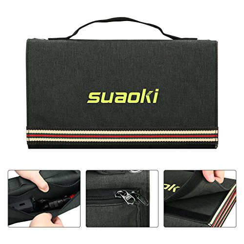 SUAOKI 60W Solar Charger Dual Output Mono-Crystalline Portable Folding Solar Panel with Battery Clamps and Car Charger for Laptop Tablet GPS Cellphone Car 5V USB + 18V DC